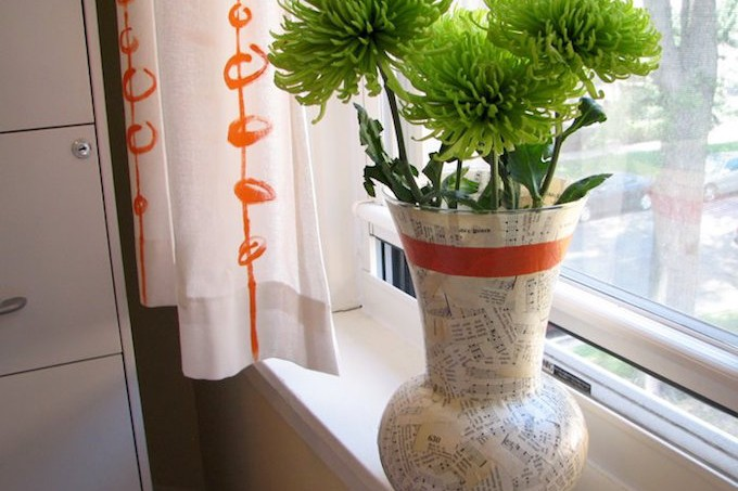 Mod Podge decoupage vase with music sheets