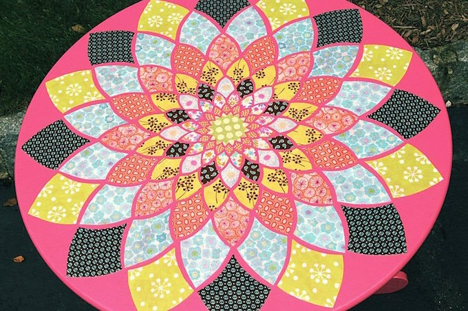 Mod Podge table with a dahlia pattern