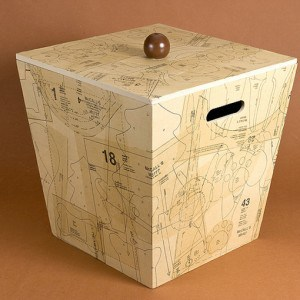Decoupage box with old sewing patterns