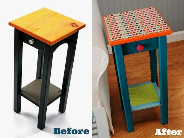 Revamp an end table with colorful scrapbook paper, paint and Mod Podge in this fun decoupage furniture project! I love the results.
