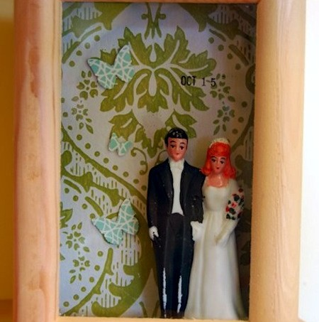 Mod Podge DIY wedding shadowbox