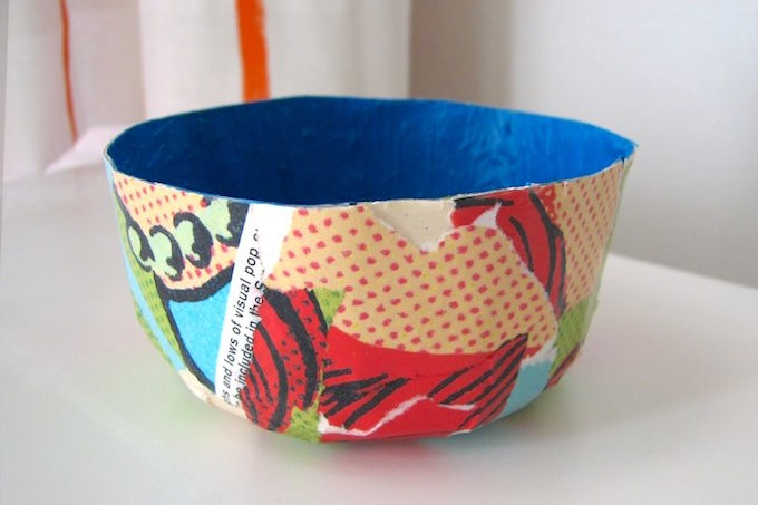 Mod Podge a bowl out of magazines