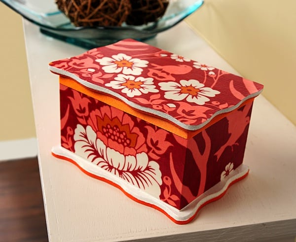 Fabric covered DIY jewelry box Mod Podge Rocks