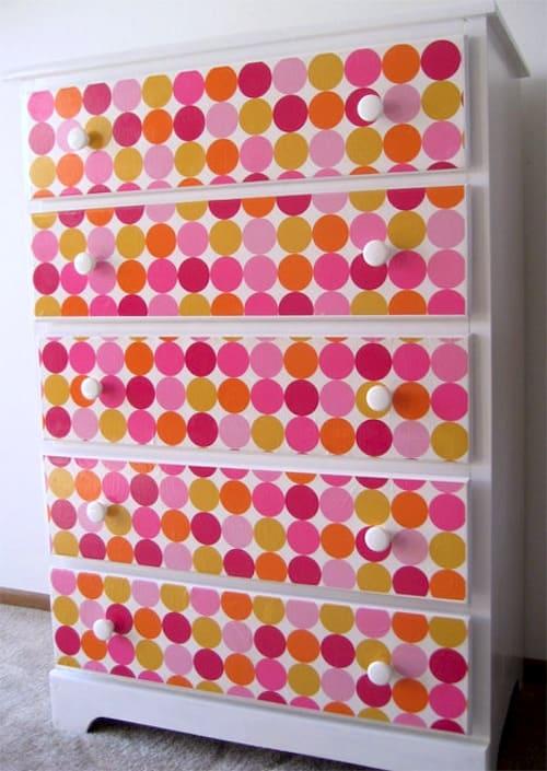 Mod Podge wallpapered dresser