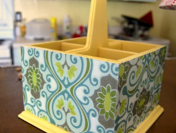 Mod Podge DIY silverware holder