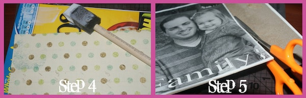 Apply scrapbook paper to the back of your picture puzzle