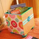 Storage doesn't have to be boring! I used bright paints, paper and decoupage on this wood storage bin - and now I'm storing my books in style.