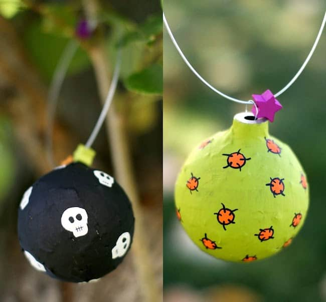 Use Mod Podge and old Christmas ornaments to make these cool Halloween ornaments!