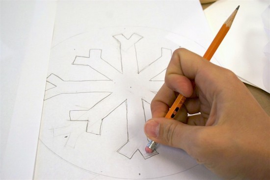 Draw a snowflake design