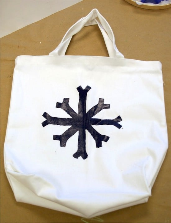 DIY screen printed snowflake done with Mod Podge