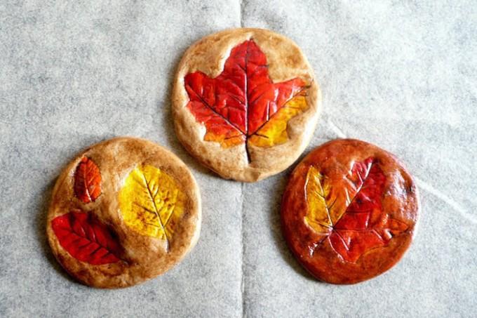 Salt dough leaves