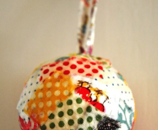 Mod Podge fabric scrap ornament