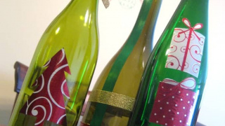 Decoupage Wine Bottle Christmas Craft