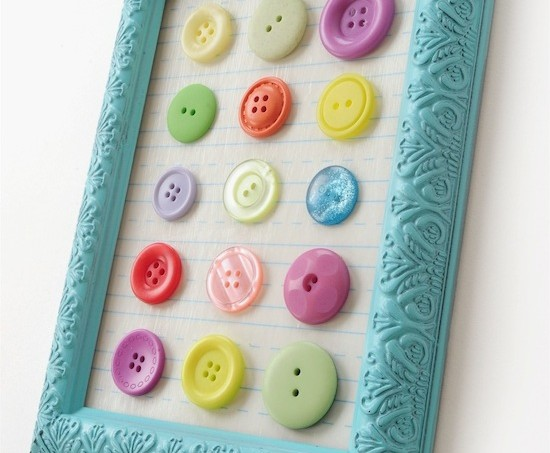 DIY button art using a dollar store frame