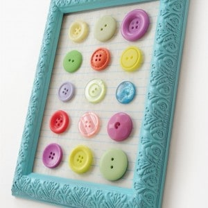If you are looking for cheap DIY wall decor with a pop of color, you'll love this EASY button art! I created it using a dollar store frame.
