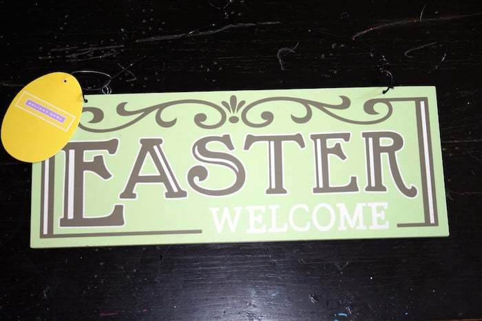 Easter welcome sign from the Dollar Tree