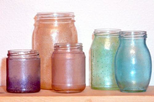 Mod Podge dyed glass bottles