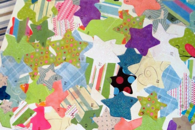 little stars Mod Podge canvas