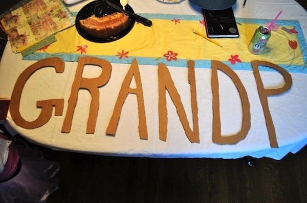 """Cardboard letters spelling """"Grandpa"""""""