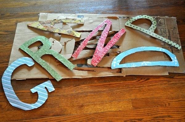 Cardboard letters spelling Grandpa