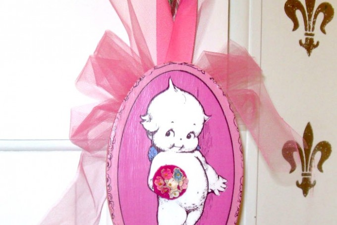 Mod Podge kewpie doll plaque
