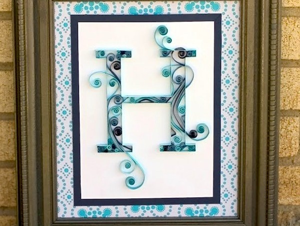 Quilled monogram letter art