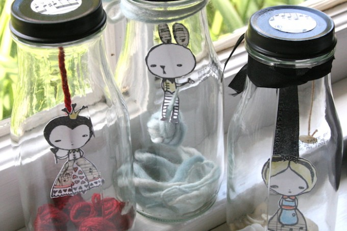 Alice and wonderland in jars