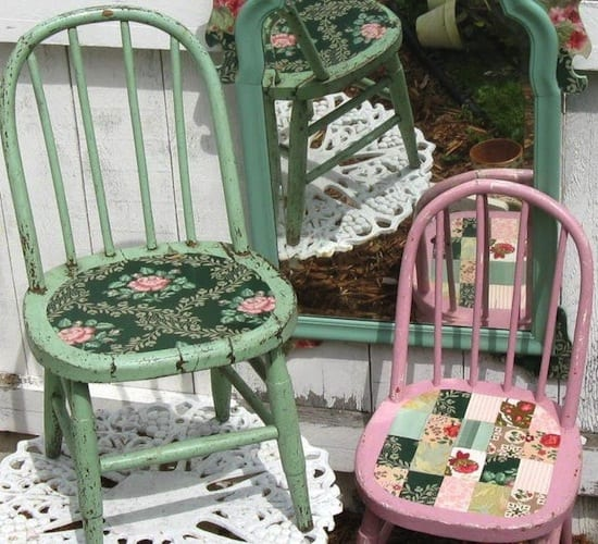 wallpapered chairs