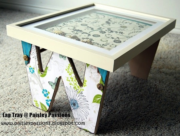 Mod Podge lap tray using letters