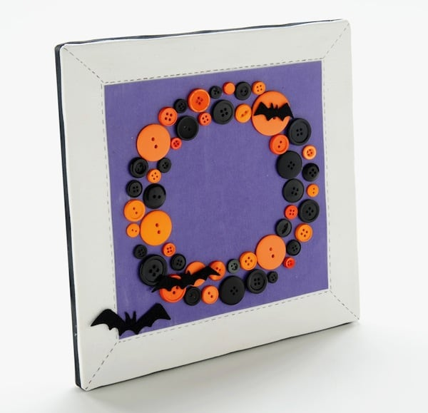 DIY Halloween Canvas Art Made with Buttons