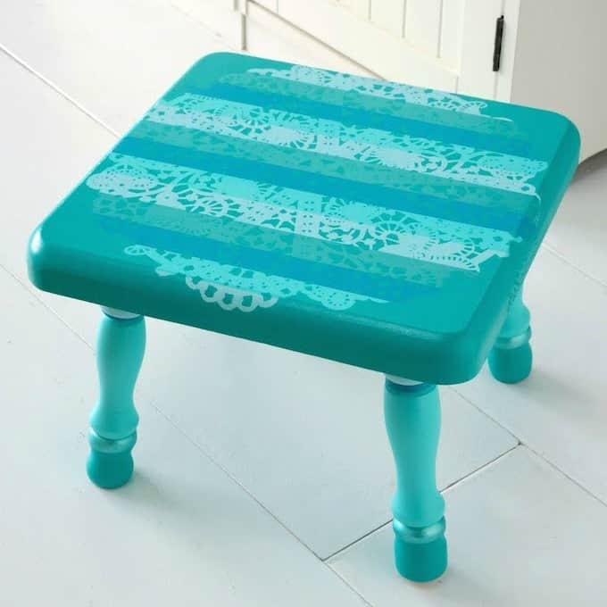Painted Wooden Stool with a Doily Resist