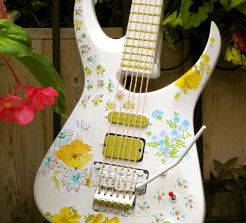 White fabric decoupaged guitar