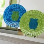 These decoupage glass plates are so easy to make - and they don't have to be owls. Choose your favorite fabric and shape; just add Mod Podge.