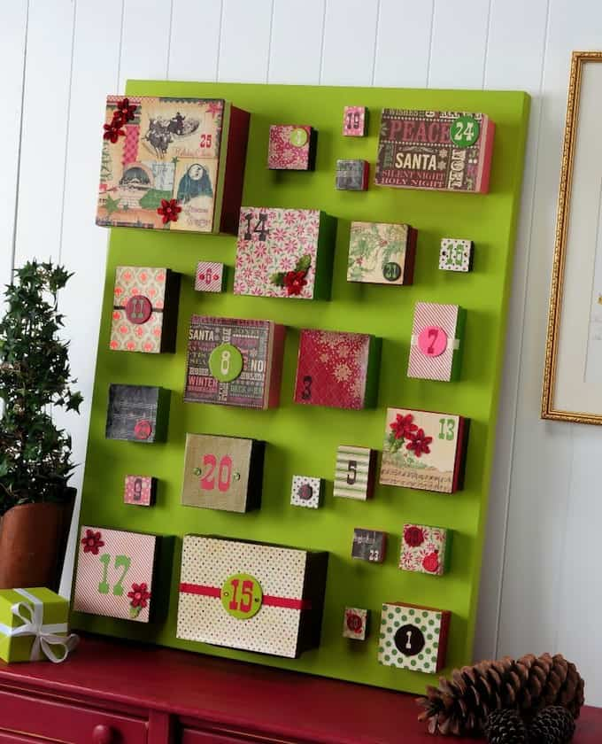 big box diy advent calendar on canvas mod podge rocks. Black Bedroom Furniture Sets. Home Design Ideas