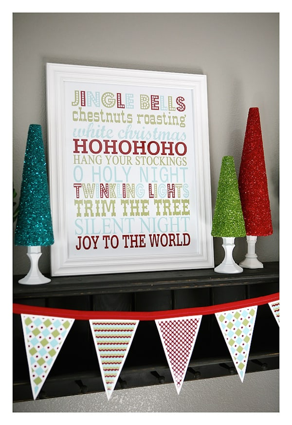 Decorate your home for the holidays with these free Christmas printables - subway art and a banner. They are so cute and colorful!