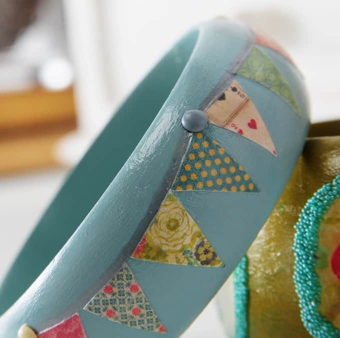 Make DIY bracelets using your favorite paint colors, scrapbook paper, and Mod Podge!