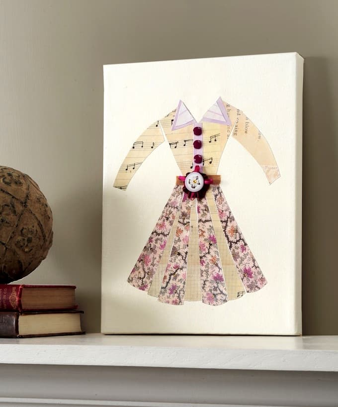 DIY knock-off decoupage dress art