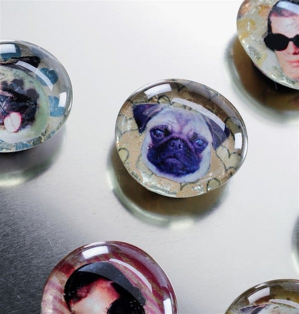 Use your favorite images and scrapbook papers to create these DIY personalized glass magnets. You'll just need a scanner and some Mod Podge!
