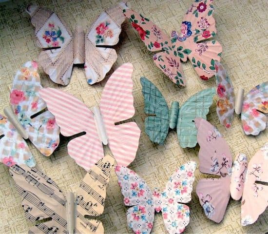 Butterfly Decorations Using Vintage Wallpaper