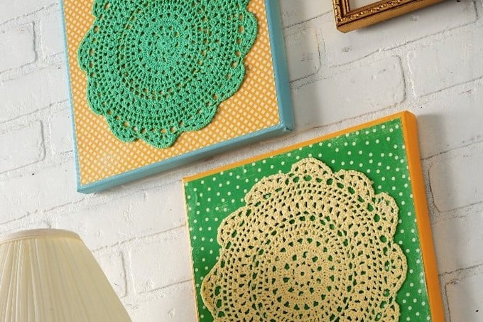 Make your own doily wall art