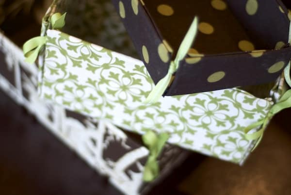 Mod Podge fabric bins
