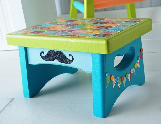 Circus themed stool - a mustache craft