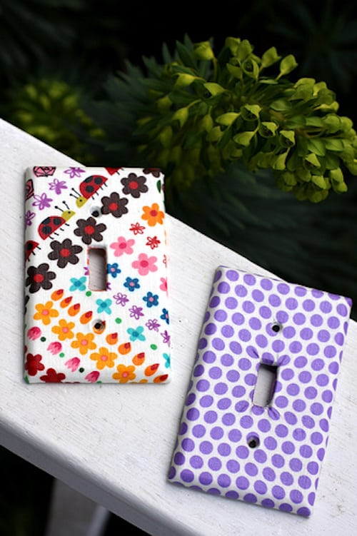 Use Mod Podge and fabric to make these decorative light switch covers, turning them from boring to fun in just a few minutes.