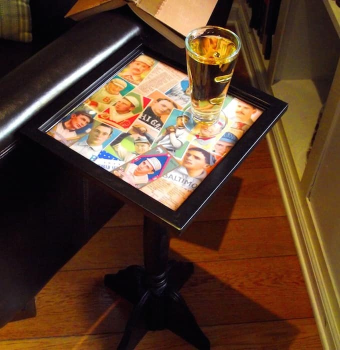 How To Build Man Cave Furniture : Baseball card themed diy end table mod podge rocks