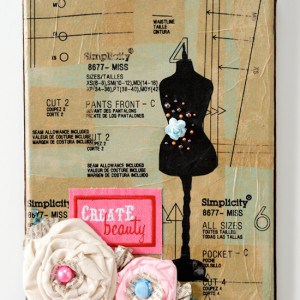 DIY Sewing Pattern Collage Canvas