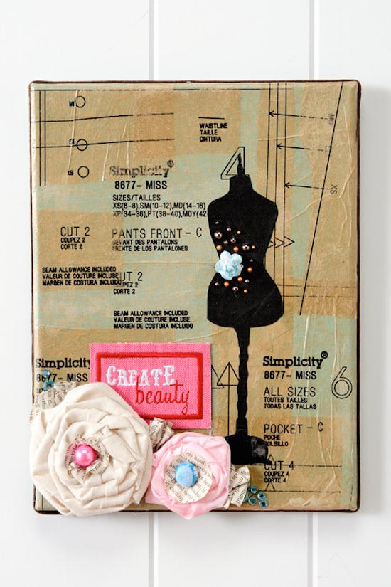 Mod Podge pattern piece canvas