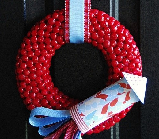 red hot and blue fourth of july wreath