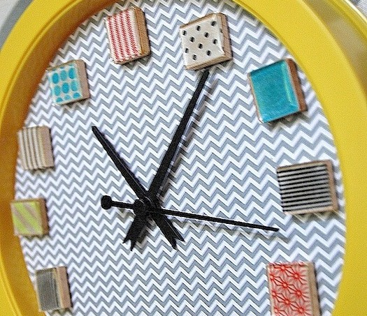 washi tape clock on chevron