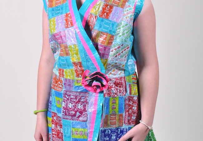 A dress made from candy wrappers