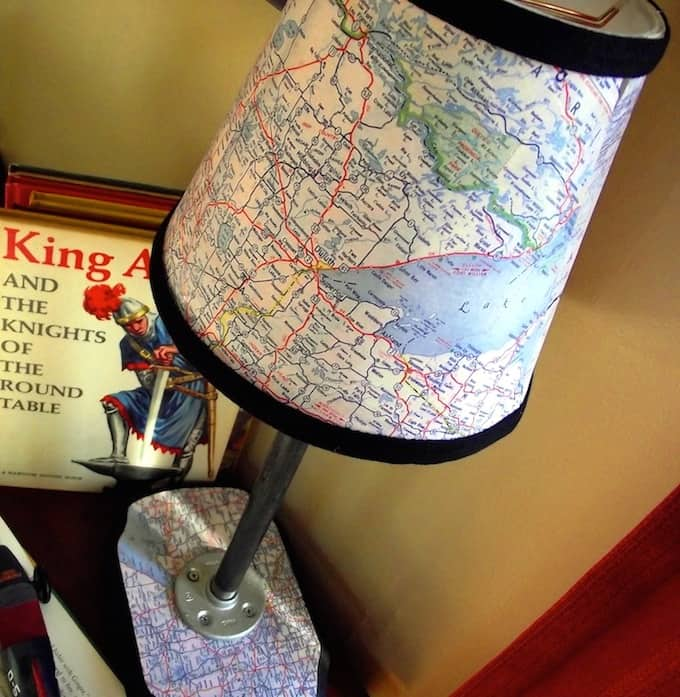 You can build a map lamp of your very own by following this tutorial from Man Podger David - use maps from your fave places to make it personal!